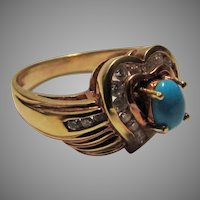 18 Karat Yellow Gold Turquoise And Diamond Ring with Appraisal