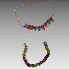 Vintage Multi-Color Crystal Briolettes Set of Necklace and Bracelet