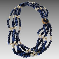 14 Karat Yellow Gold Lapis Lazuli and Cultured Pearl Five Strand Necklace With Focal Clasp