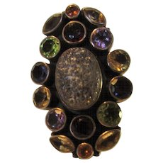 Sterling Silver Designer Signed Limited Edition Gem Ring Featuring Peridot, Amethyst, Topaz, and Garnet - Red Tag Sale Item