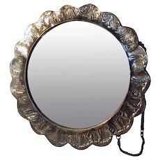 Antique Silver Repousse  Mirror