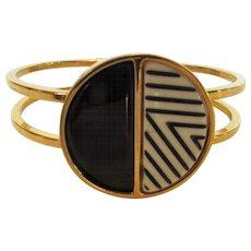 "Vintage Kenneth Cole ""Mod"" Bangle in Stark Black and White on Goldtone - Red Tag Sale Item"