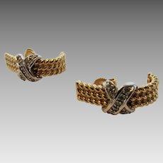 14 Karat Yellow Gold Half Hoops With Diamond Accents