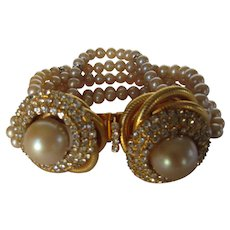William De Lillo Runway Bracelet Enhanced With Faux Pearls and Double Pearl Clasp With Crystal Surround
