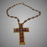 William De Lillo Runway Necklace With Faux Opal Cross Pendant