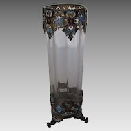 Vintage Cloisonne Brass Framed Footed Vase