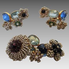 William De Lillo Pin and Clip Earring Set With Faux Seed Pearl Surround and Poured Glass Centers