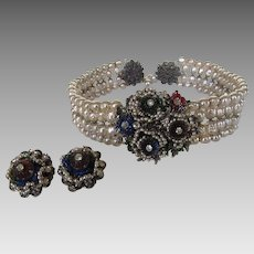 William De Lillo Choker and Matching Clip Earrings in Spectacular Array