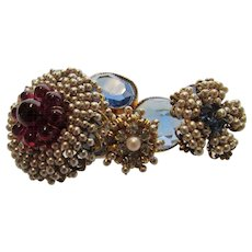 William De Lillo Pin With Faux Seed Pearls And Unbacked Swarovski Crystals