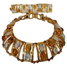 William De Lillo Runway Set Featuring Necklace With Faux Citrines and Moonstones and Matching Bracelet