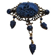 Vintage Victorian Revival Pin With Carved Lucite Floral Center and Faux Lapis Beads