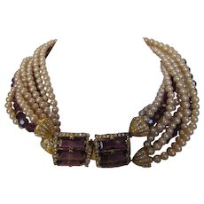 William De Lillo Runway Necklace With Swarovski Amethyst Crystals Enhanced with Faux Pearls and Spectacular Clasp