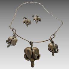 Vintage Artist Signed Pewter Necklace and Matching Pierced Earring Set