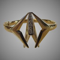 14 Karat Yellow Gold Modernist Bangle Bracelet Enhanced With Diamonds
