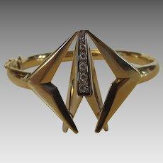 14 Karat Yellow Gold Modernist Bangle Bracelet Enhanced With Diamonds
