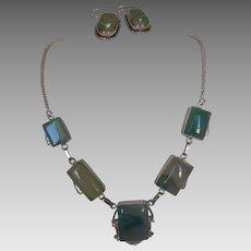 Sterling Silver Agate Necklace and Matching Pierced Earring Set
