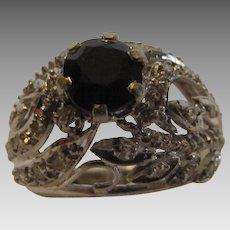 14 Karat White Gold Diamond and Sapphire Ring