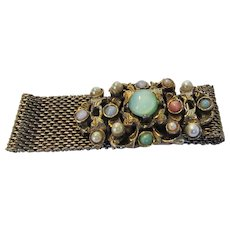 Vintage Goldentone Mesh Bracelet With Fabulous Cabochon Decorated Closure - Red Tag Sale Item