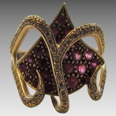 18 Karat White Gold Ruby and Diamond Ring in Unique Hearts Aligned Design