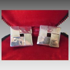 Sterling Silver Mexican Signed Clip Earrings in a Hammered Texture