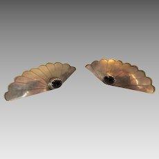 Sterling Silver Onyx Pierced Earrings in Fan Style