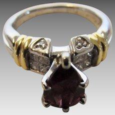 Platinum Garnet and Diamond Ring With 18 Karat Accents