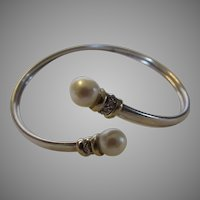 Sterling Silver Bangle With 14 Karat Accents and Cultured Pearls and Diamonds