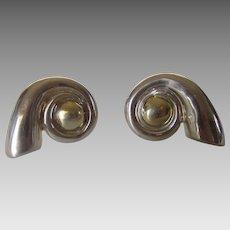 Sterling Silver Huge Clip on Earrings in Swirl Design