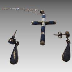 Sterling Silver Cross in Lapis Lazuli on a Sterling Silver Chain with Matching Lapis Lazuli Pierced Earrings