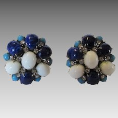 Arnold Scaasi Glass Bead Clip Earrings