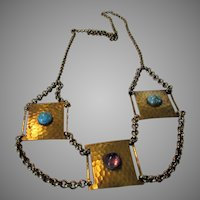 Vintage Brass and Glass Necklace Enhanced with 3 Jeweled Pendants