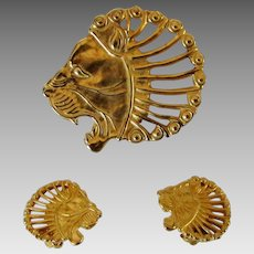 Sterling Silver Lion Head Pin and Lion Head Clip Earring MMA set in Gold Wash