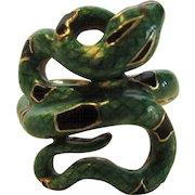 18 Karat Enamelled Snake Ring