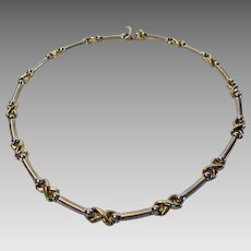14 Karat Yellow and White Gold Segment Necklace