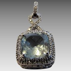 14 Karat White Gold Aquamarine and Diamond Pendant