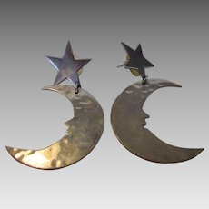 Sterling Silver Taxco Pineda Moon and Star Pierced Earrings