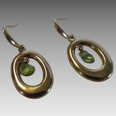 14 Karat Yellow Gold Peridot Drop Earrings