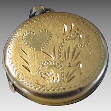14 Karat Yellow Gold Petite Gold Locket With Beautiful Engraving
