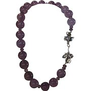 O.O.A.K. Natural Amethyst Necklace With Sterling Silver Floral Clasp