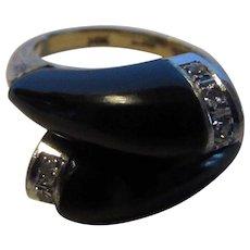 14 Karat Yellow Gold Onyx Diamond Modernist By Pass Ring