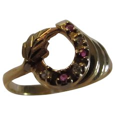 10 Karat Yellow Gold Horseshoe Ring  With Tiny Ruby and Diamond Accents