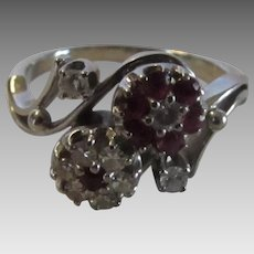 18 Karat Ruby and Diamond Twin Flower Ring