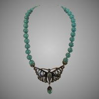 Vintage Heidi Daus Statement Necklace in Faux Turquoise and Butterfly Pendant
