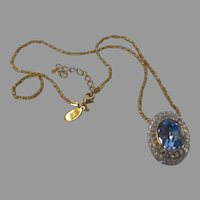 Vintage Nolan Miller Faux Blue Topaz  Pendant on Goldtone Chain