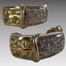 14 Karat Yellow Gold Diamond and Yellow Sapphire Earrings