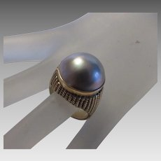 14 Karat Yellow Gold Pearl Ring in Major Dome Setting