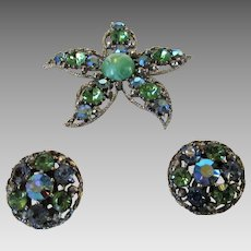 Vintage Weiss Pin and Earring Set in Pastel Green and Blue Aurora Borealis Crystals