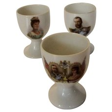 King George V and Queen Mary 1911 Coronation Rare Egg Cup Trio Made in Germany