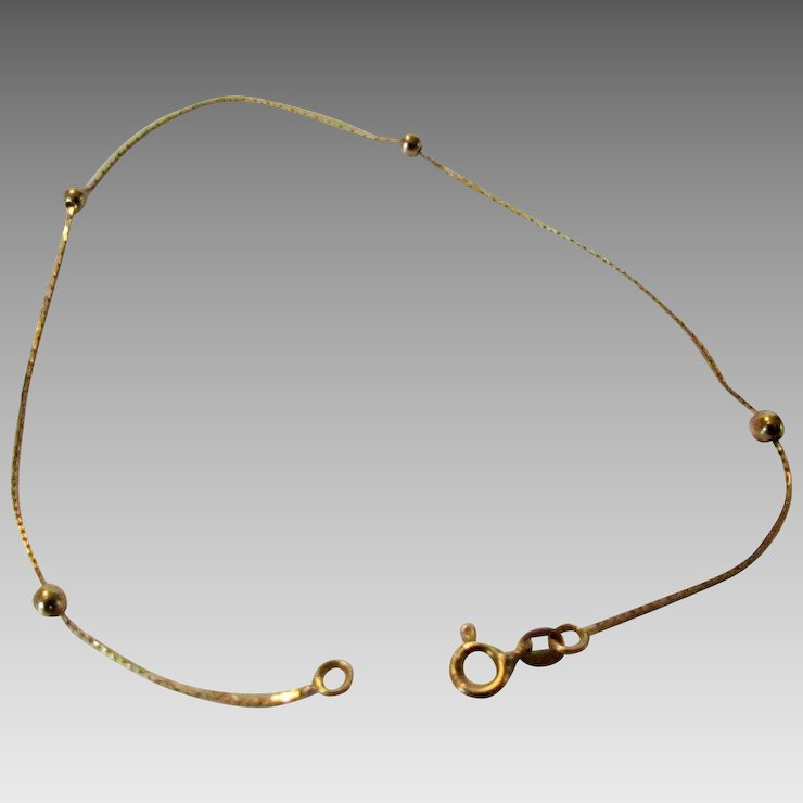 14 Karat Yellow Gold Dainty Bracelet With 4 Ball Stations