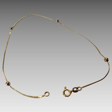 14 Karat Yellow Gold Dainty Bracelet with 4 Gold Ball Stations